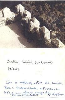 JEM e Lopes-Graça. Foto e verso. Sintra, Castelo dos Mouros, 19/07/59. Clique para ampliar.